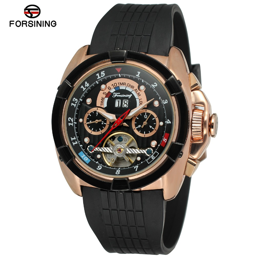 Fashion FORSINING Men Luxury Brand Rubber Casual Sports Watch Automatic Mechanical Wristwatch Gift Box Relogio Releges fashion sewor men luxury brand auto date leather casual watch automatic mechanical wristwatch gift box relogio releges 2016 new