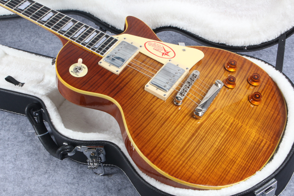 R9 LP Tiger Flame les Electric guitar with Chrome hardware, Maple body LP standard guitar,Free shipping
