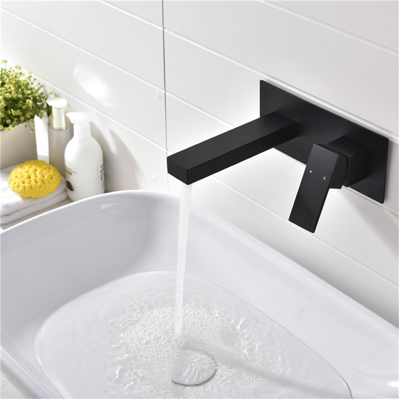 AODEYI Laconic Brass Bathroom Basin Sink Mixer Faucet Embedded Single Lever Black Chrome Hot and Cold Mixing Lavatory Tap 12 064 in Basin Faucets from Home Improvement