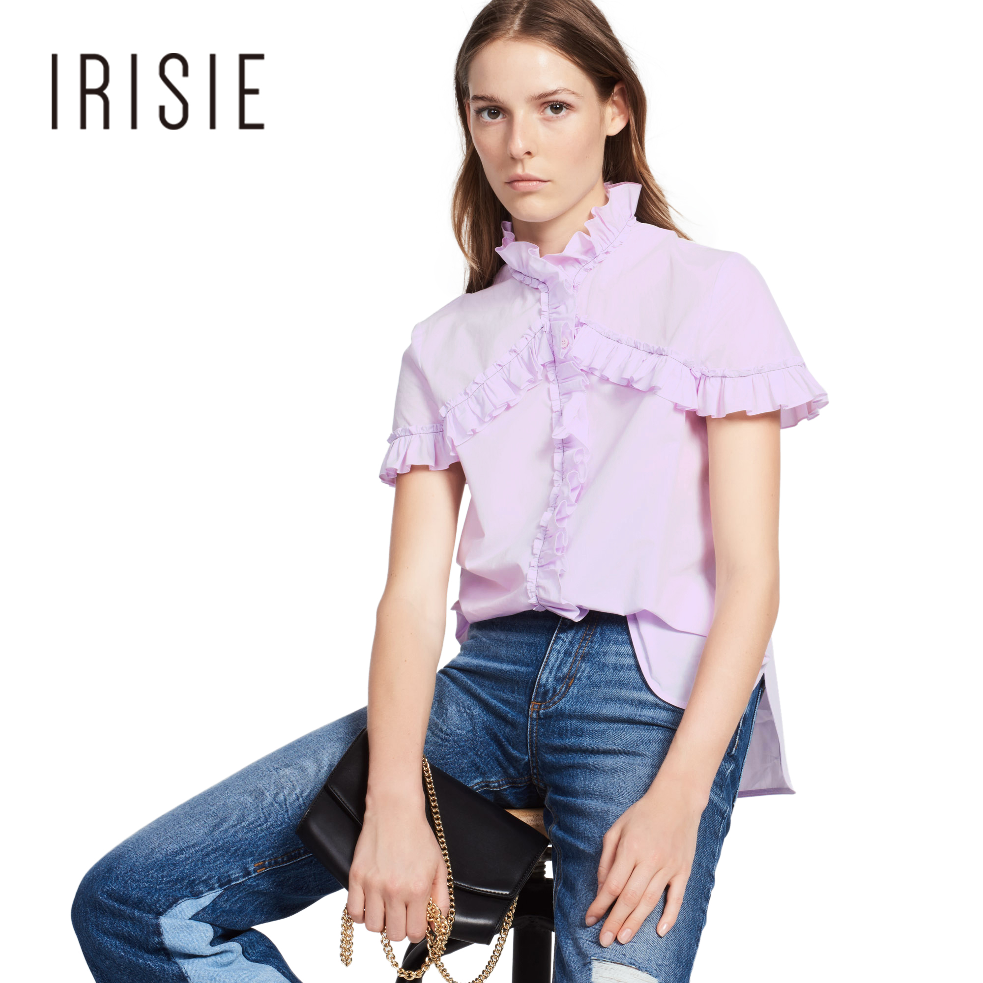 Irisie Solid Light Purple Shirt Women Contrast Regular Cotton Side