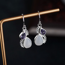 wholesale purple crystal earring natural moonstone 925 Silver earrings European beauty multi-color zircon jewelry Gifts