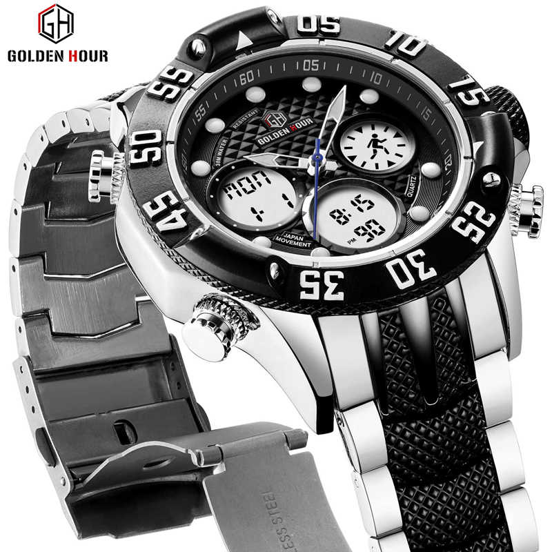 GOLDENHOUR Mens Sport Analog Digital Watches Outdoor Waterproof Big Case Military  Wrist Watch Full Stainless Quartz Male Clock