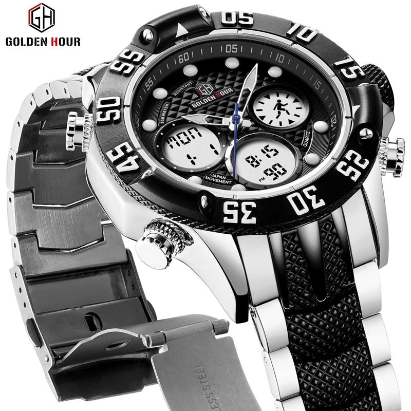 GOLDENHOUR Mens Sport Analog Digital Watches Outdoor Waterproof Big Case Military Wrist Watch Full Stainless Quartz Male Clock