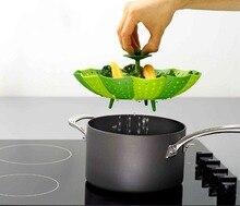Stackable Design Silikon Dampfgarer Folding Obstschale Multifunktions Dampfenden Korb-faltbare Gemüse Steamer Korb