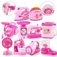 1 قطعة Kawaii التظاهر اللعب محاكاة صغيرة المطبخ اللعب تضيء والصوت الوردي الأجهزة المنزلية لعبة للأطفال الأطفال طفلة