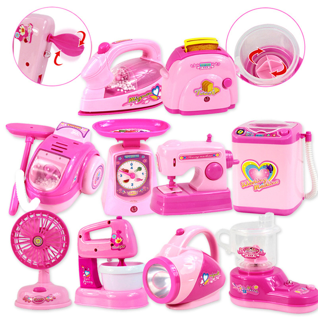 1PCS Kawaii Pretend Play Mini Simulation Kitchen Toys Light up & Sound Pink Household Appliances Toy for Kids Children Baby Girl