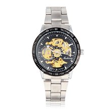 Men Male Mechanical Watch Stainless Steel Automatic Stylish Classic Skeleton Steampunk Wristwatch