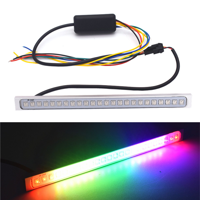 $ 9 190mm 5050 24 SMD LED Colorful License Plate Lights Running Brake Turn Signal Lights car-styling 12V 24W Waterproof