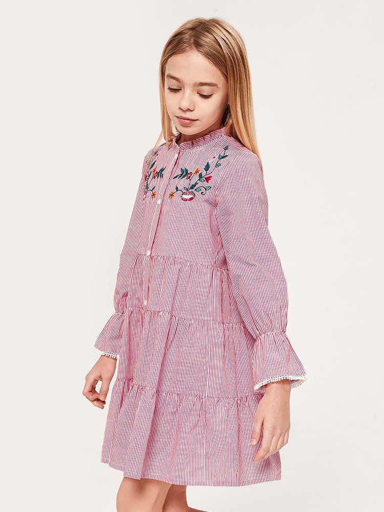 Balabala Bé Gái Áo SỌC ĐẦM Tay Loe Váy Có Dây Thắt Nơ Ở Eo Trẻ Em Thiếu Niên Bé Gái Xuân Thu Áo