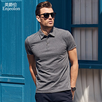 Enjeolon Brand 2017 New Mens Casual Short Sleeve Polo Shirts Plus Size 4XL Solid Black Clothing