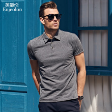 Enjeolon brand 2017 new Mens casual short sleeve polo Shirts plus size 4XL solid black Clothing Tops Tee free shipping T1687