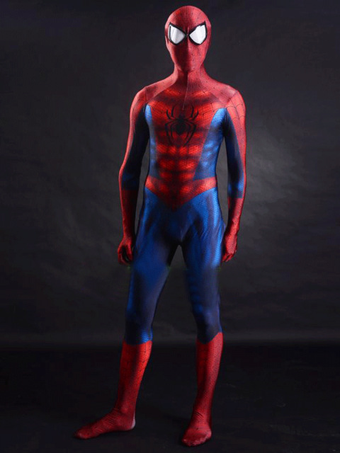 Hot Sale Eye Lenses Spiderman Cosplay Costume Spandex Spiderman Zentai Suit for Halloween Party