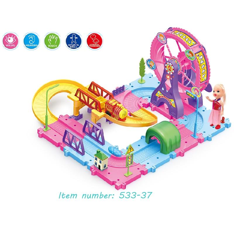 Ensemble de piste de course bricolage magique, grande taille haute qualité pas cher accessoires de piste de course avec lumière et cadeau de musique pour enfants garçon filles