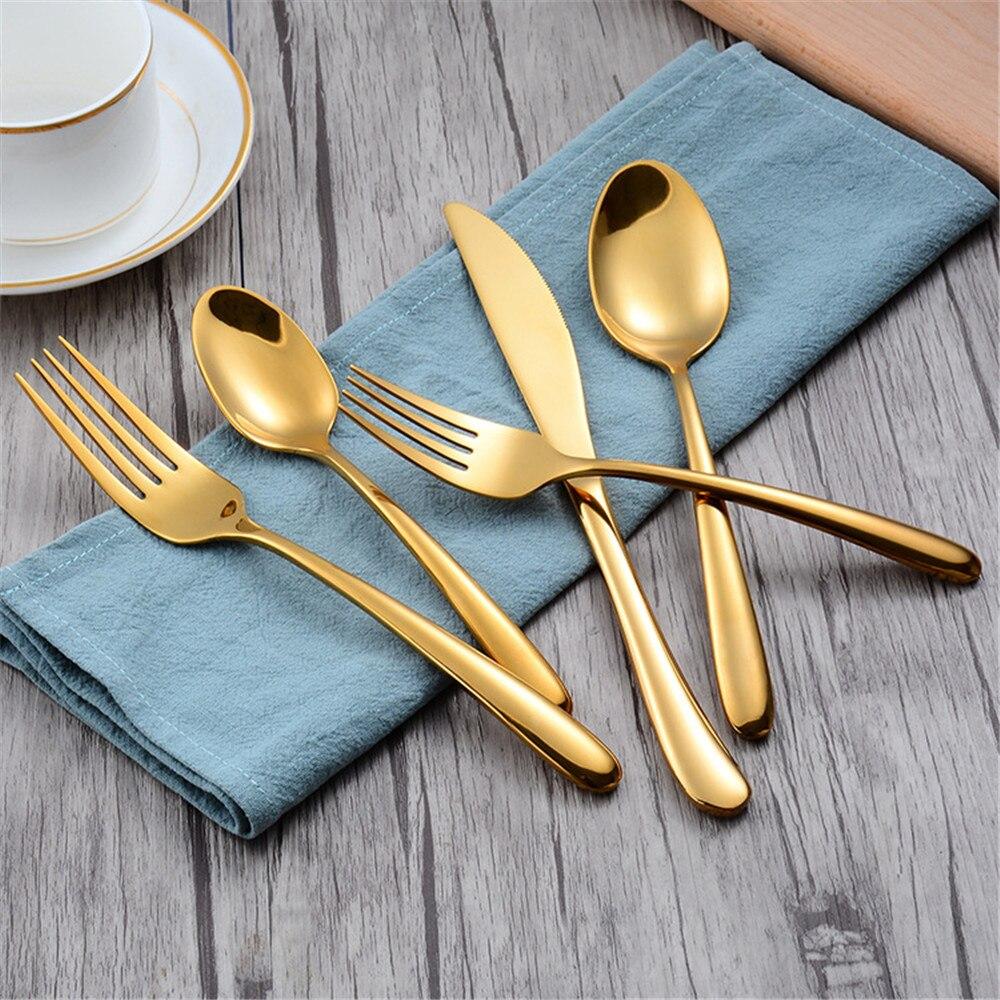 Dinnerware Set 304 Stainless Steel Cutlery Set Black Knife Fork Set Tableware Gold Silver Cutleries Western Food Set 5 Pieces