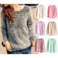 New 2017 New Autumn And Winter Women's round neck mohair sweater Pullovers loose knit sweater bottoming lady fashion Tops  A2124