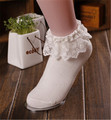 2017 New Arrive 3Pcs/Lot Woman Stock Vintage Lace Ruffle Frilly Ankle Socks Girl's Gift Top Quality Lace Women's Socks lxy964