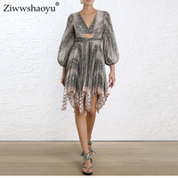 Ziwwshaoyu Sexy backless dresses Snake Print V Neck Puff Sleeve Vacation Beach Draped dress 2019 spring and summer new women