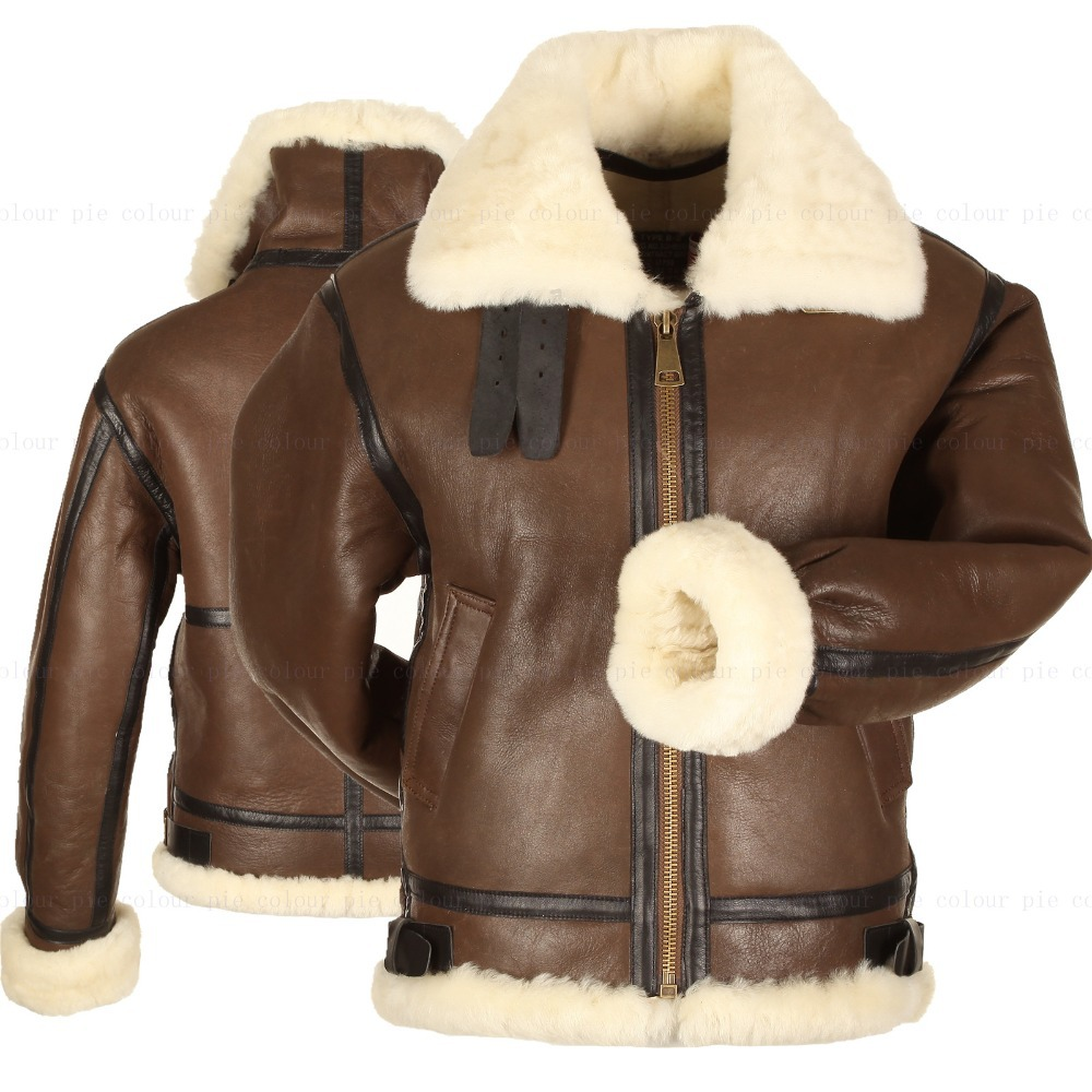 Aliexpress.com : Buy B3 shearling Leather jacket Bomber Fur pilot ...