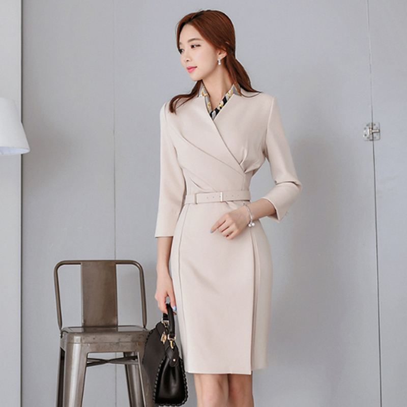 Foamlina Elegant Ladies Office Dress Solid V Neck 3/4 Sleeve Autumn Dress Wear to Work Business Knee Length Women Pencil Dress