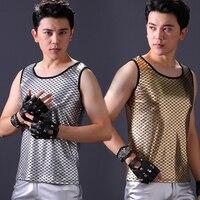 New Plus Size Nightclub DJ Singer Street Dance Rock Clothes Performance T Shirt Men'S Personality Korean Version Vest DWY1672