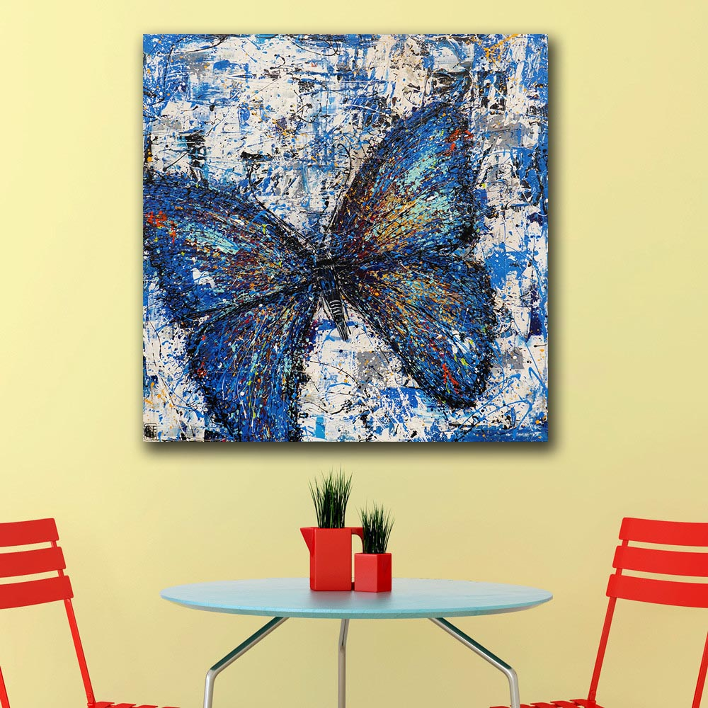 Online Shop Oil Painting POP REALISM BLUE BUTTERFLY Wall ...