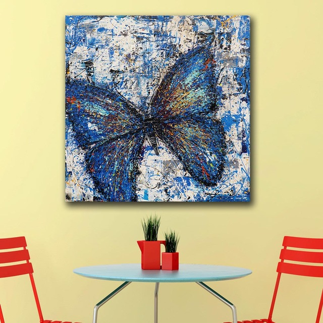 Oil Painting POP REALISM BLUE BUTTERFLY Wall Decoration Painted Wall ...