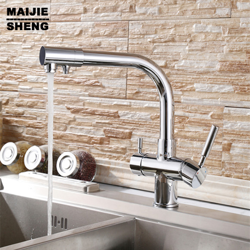 Kitchen Faucet Three Way Tap for Water Filter 2017 Double fuinction kitchen faucet 3 way filler