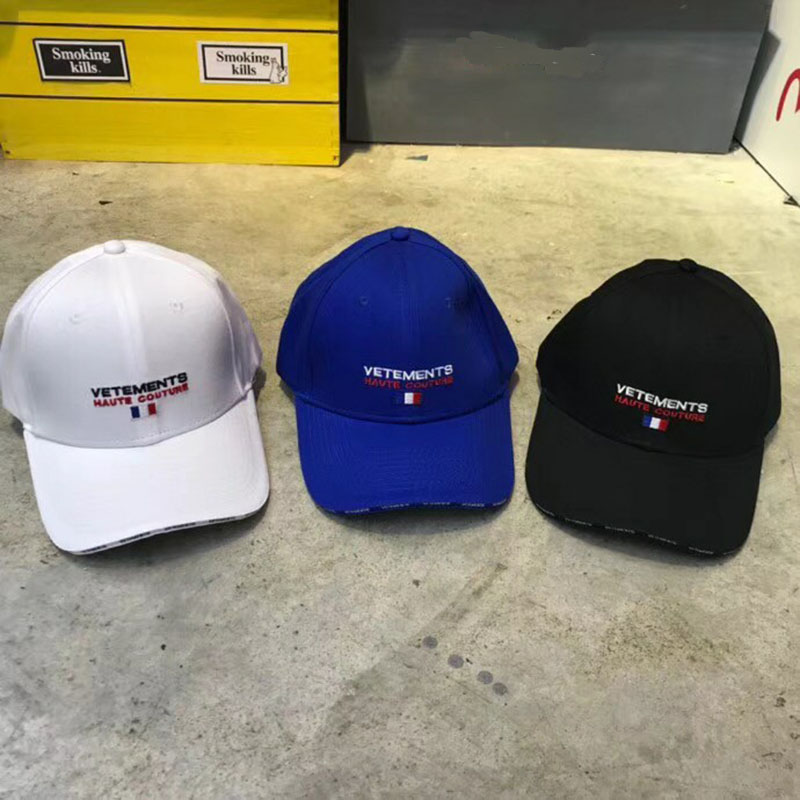 c2cb27339d4d7 Vetements Casual Embroidery Adjustable Caps Hip Hop Vetements Baseball  Yellow blue black and white Vetements Fashion