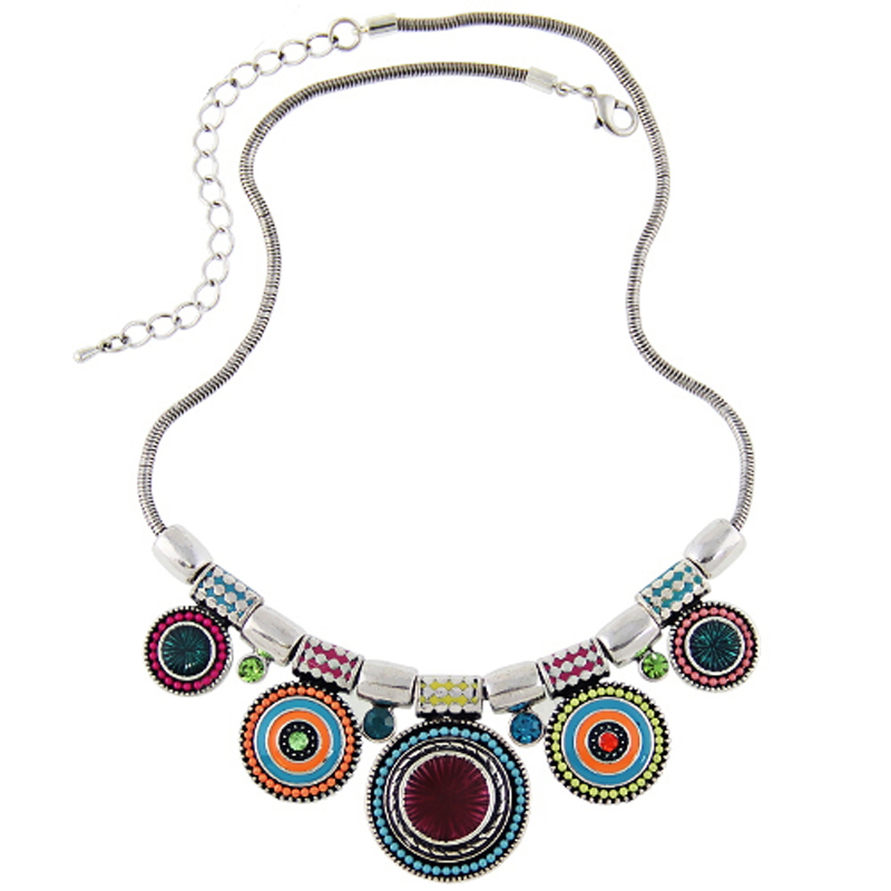 2017New Choker Necklace Fashion Ethnic Collares Vintage Silver Plated Colorful Bead Pendant Statement Necklace For Women Jewelry