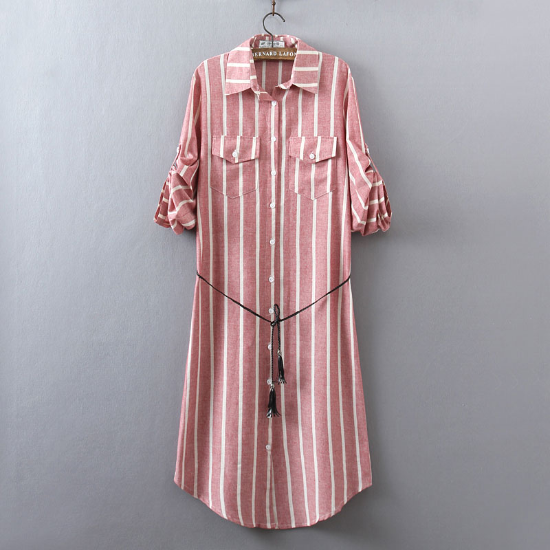 New Women's Shirt Dress Spring and Summer 2018 Casual Loose Vertical stripes Long sleeve Cotton and Linen Dress Plus Size Female