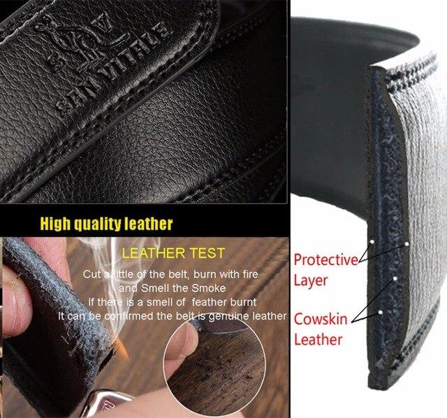 SAN VITALE Men Belts Genuine Leather Luxury Designer Strap Male Belt for Man Automatic Buckle Jeans Cintos Masculinos Ceinture
