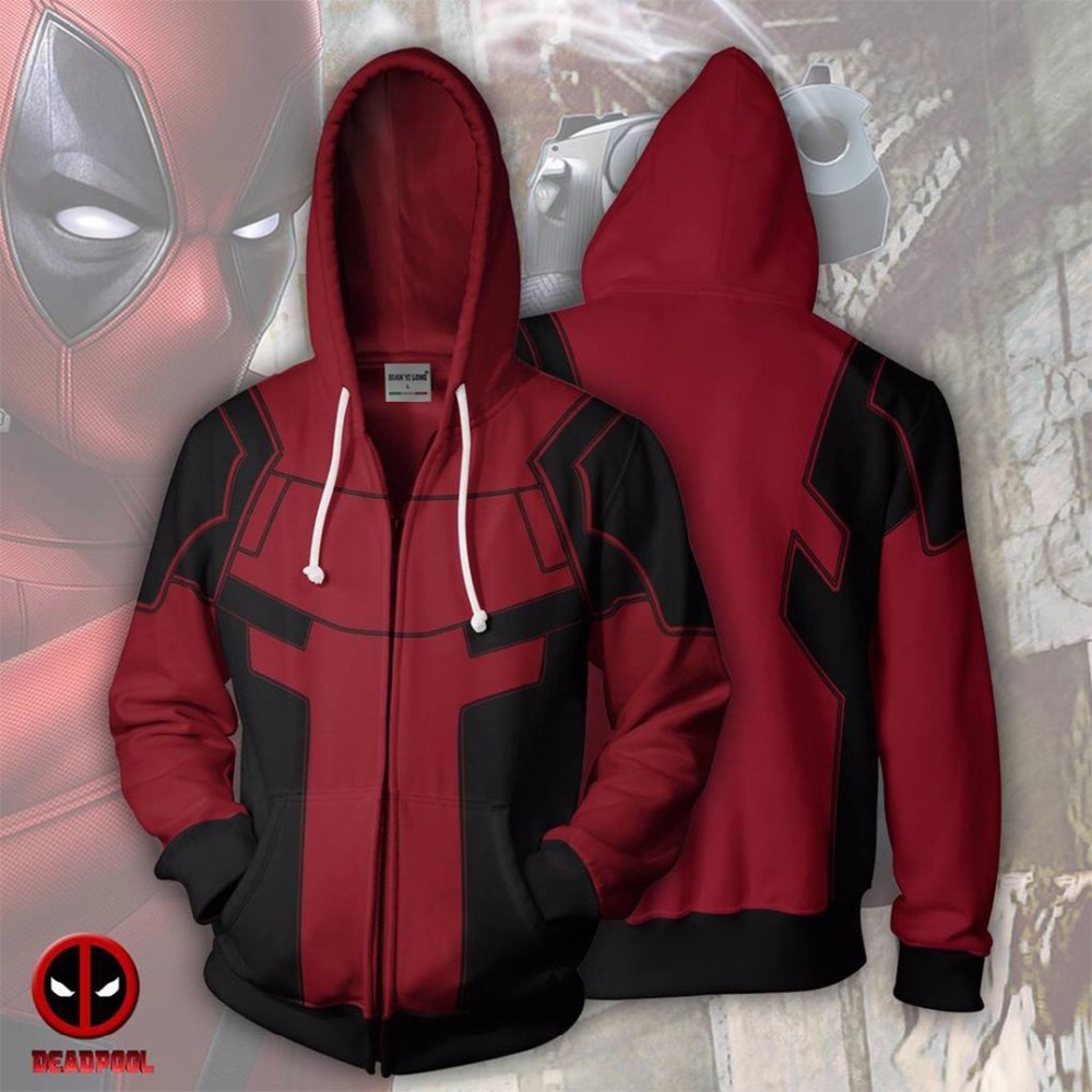 2019 New Hoodies Sweatshirts Coat Hoodies Costume Legion Clothing Deadpool Zip Up Hoodie 3D Printed Zipper Hoodies Tops
