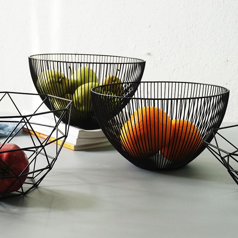Nordic minimalist decorative wrought iron fruit basket Snacks storage basket fruit bowl fruit