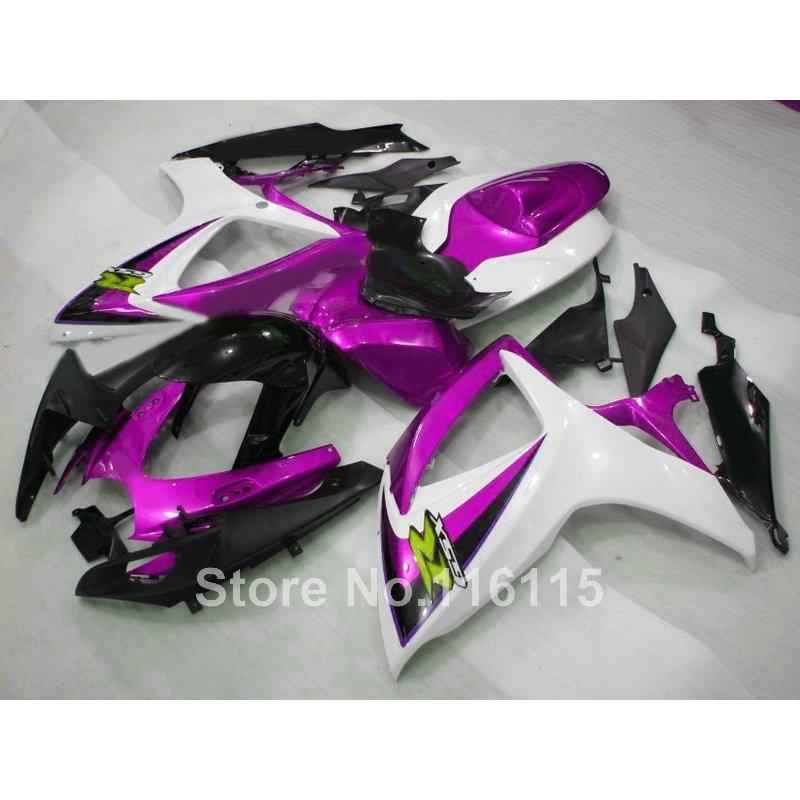 Injection mold  fairings for SUZUKI GSXR 600 750 K6 K7 2006 2007 purple white black fairing kit GSXR600 GSXR750 06 07 X589 new motorcycle ram air intake tube duct for suzuki gsxr600 gsxr750 2006 2007 k6 abs plastic black
