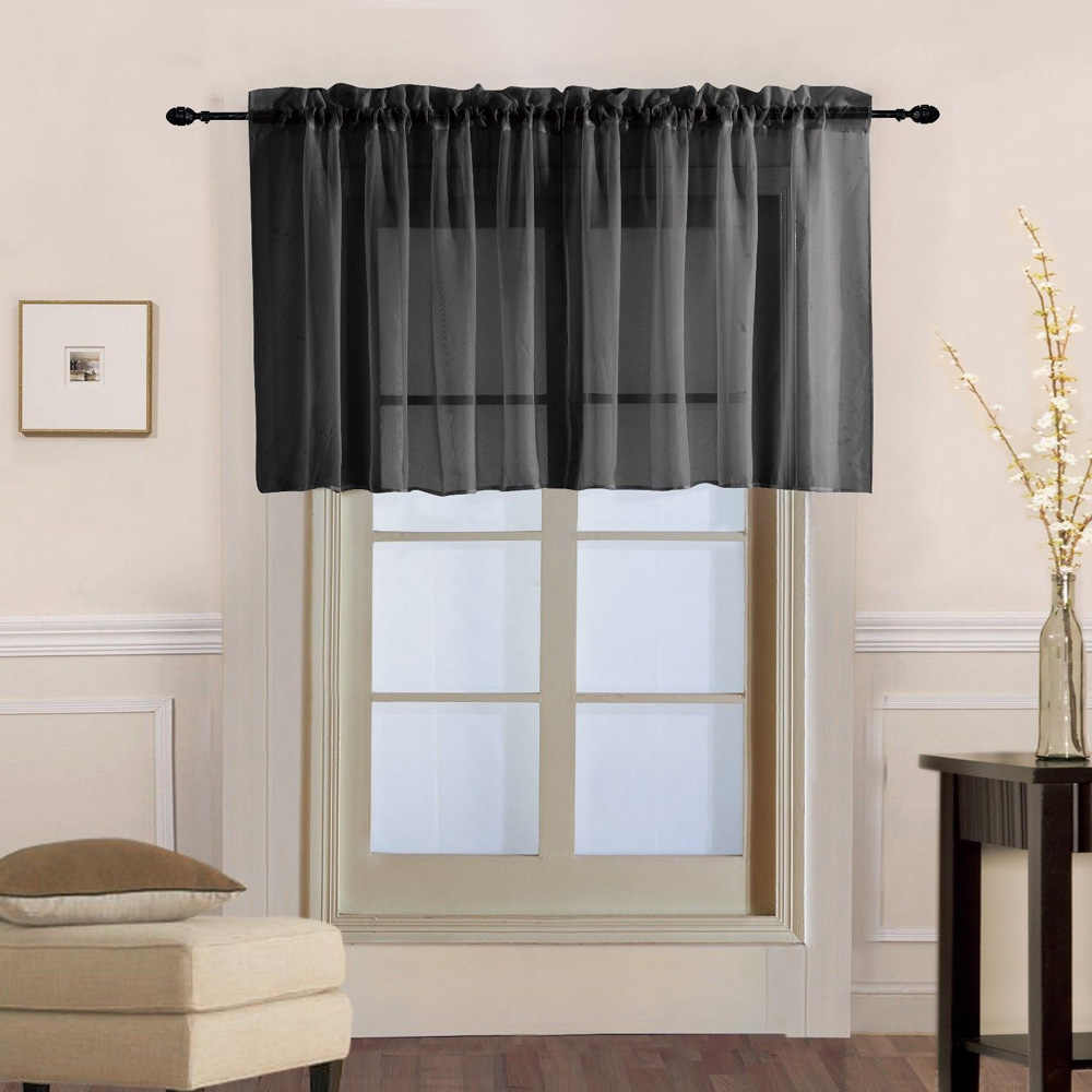 Tiyana 1 PCS Rod Pocket Tulle Curtains Short Half Curtains Window Valance  Black Color Kitchen Drapes