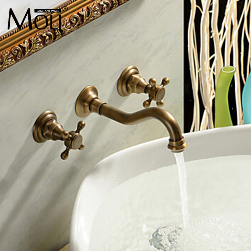 Antique Wall Mounted Faucet With Two Handle Bath Basin Mixer Taps Double Handle Wall Bathroom Sink