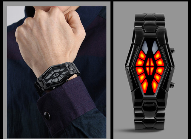 New Designer Personalized Irregular Case Men LED Watches Special Light Time Display Boy Students Cool Digital Clock 316L NW4443