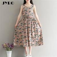 JYRO Brand Women's Dress 2017 Summer New Art Print Dresses Loose Large Size Dress Mid Calf Sleeveless Cotton Dress