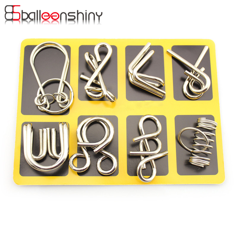 BalleenShiny 8 pcs set Classical Metal Ring Puzzles IQ Brain Teaser Test Toys Locks Educational Learning