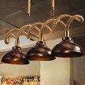 Ретро подвесной светильник из пеньковой веревки  креативная индивидуальная лампа  магазин одежды  кафе-бар  лампа для ресторана  подвесной ...