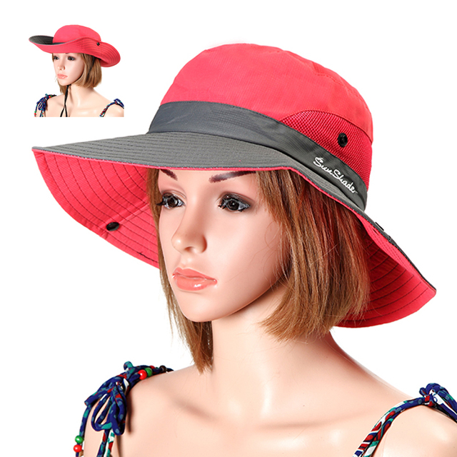 074db4d3f US $7.33 36% OFF Summer Foldable Bucket Hats Women Anti UV Fisherman Hat  Outdoor Breathable Mesh Camping Hiking Fishing Cap Wide Brim Sun Caps-in ...