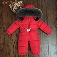 Children Winter Snowsuit Kids Natural Fur Collar Duck Down Jumpsuit Boy Girl Overalls Infant Baby Rompers Bebe Clothes Cyy285