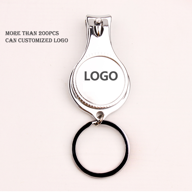 3 In 1 Beer Opener Multifunction Stainless Steel Nail Scissors Clippers Gifts Personalized Logo Home Tool Keychain Mini Mirror
