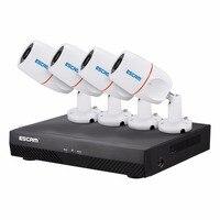 Escam NVR Наборы pnk405 HD 1080 P 4ch PoE NVR безопасности Системы с детектором движения запись сигнализации ONVIF IP66 Водонепроницаемый ИК Камера