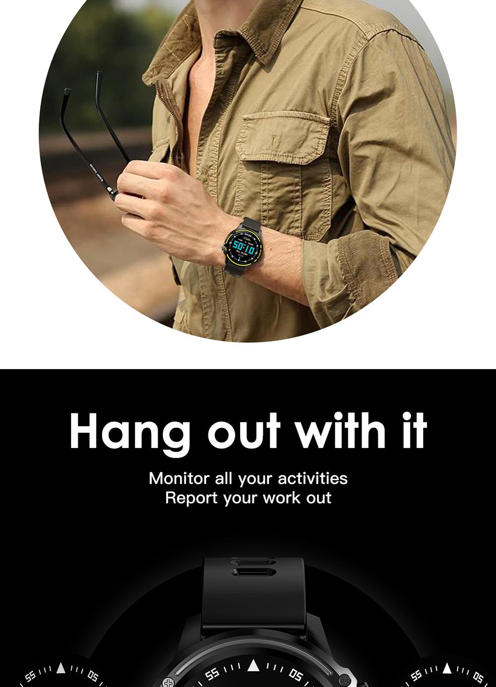 Reloj inteligente L8 IP68 para Hombre, Reloj inteligente resistente al agua con ECG presión arterial mediante PPG, relojes deportivos para fitness 5
