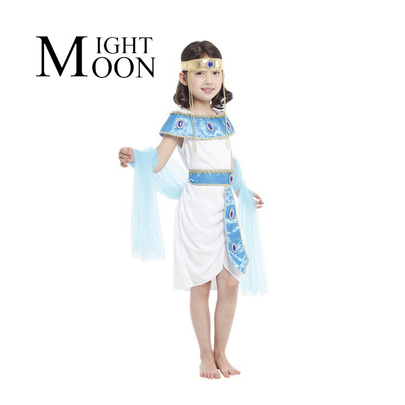 MOONIGHT Kids Children Cosplay Costume Egypt Princess Dress + Shawl Halloween Party Costume Girl
