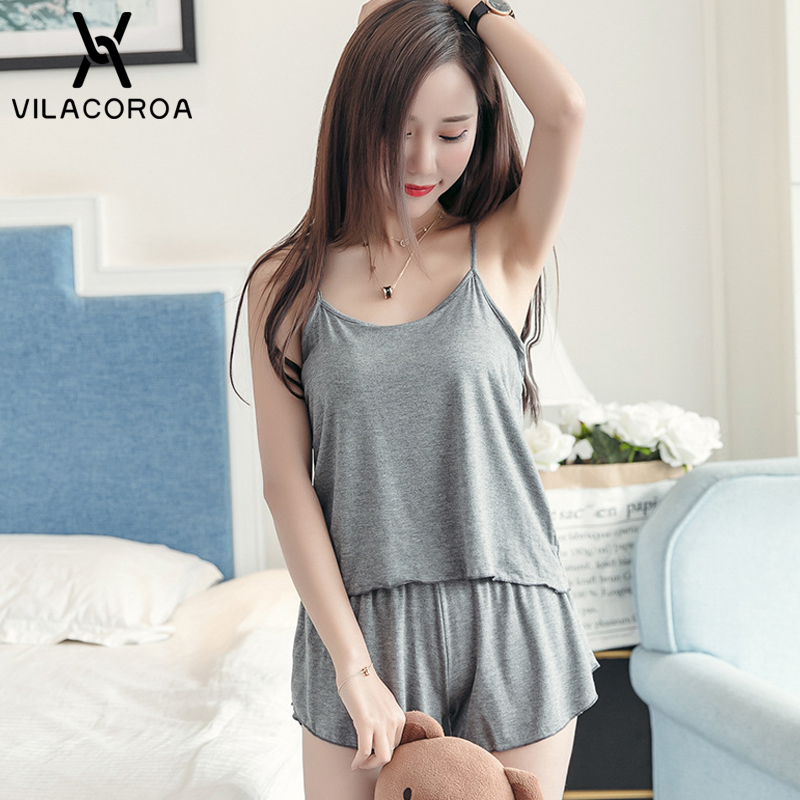 Summer Sexy Modal Women   Pajama   Solid Camis Sleeveless Open Back Top + Shorts   Pajama     Set   Casual Loose Plus Size   pajamas   For Women