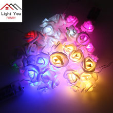 10LED Battery Box Simulation Rose Flower Holiday Decoration Light String Christmas Party Interior Light(China)
