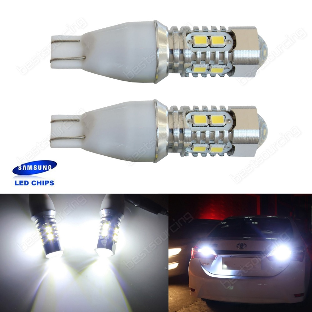 2x 955 921 T15 168 W16W SAMSUNG 10 LED Bulb Interior Reverse Tail Side <font><b>Light</b></font> DRL(CA321)