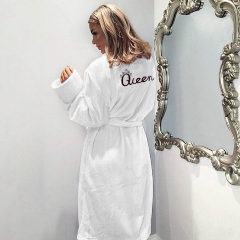 Image 4 - Winter Warm Flannel Bathrobe Women Knee Length Bath Robe Soft Thick Cute Pink Bridesmaid Robes Female Dressing Gown Sleepwear-in Robes from Underwear & Sleepwears